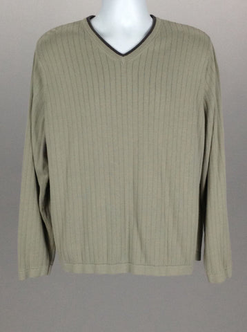 Gray Plain V-Neck Regular Sweater, Size: X-Large