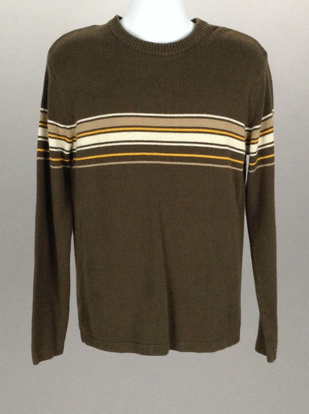 Brown Printed Design Scoop Neck Knit Sweater, Size: Small