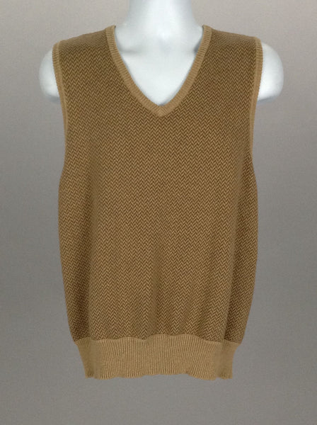Beige Plain V-Neck Vest Sweater, Size: Large
