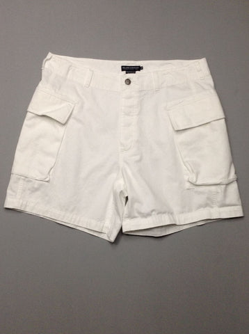 White Plain Cargo Shorts, Size: 38.0
