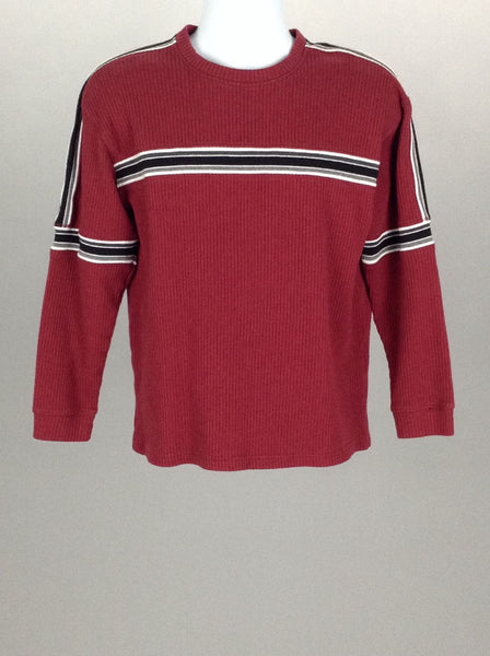 Red Striped Scoop Neck Regular Sweater, Size: Large