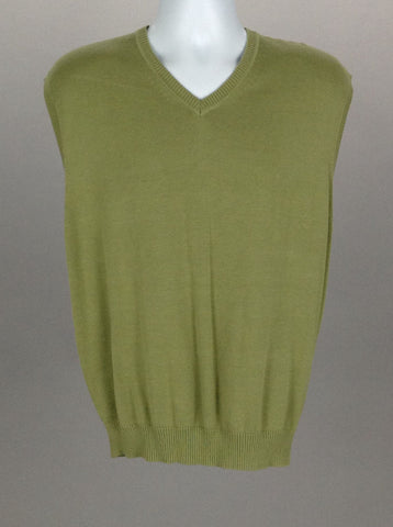 Green Plain V-Neck Vest Sweater, Size: Large