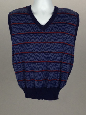 Blue Geometric V-Neck Vest Sweater, Size: Large
