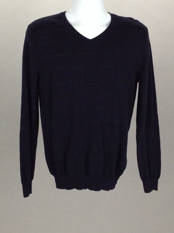 Blue Striped V-Neck Knit Sweater, Size: Small