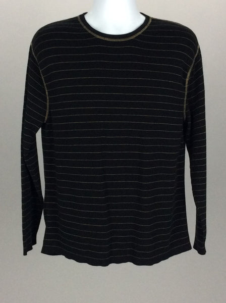 Black Striped Scoop Neck Knit Sweater, Size: Large