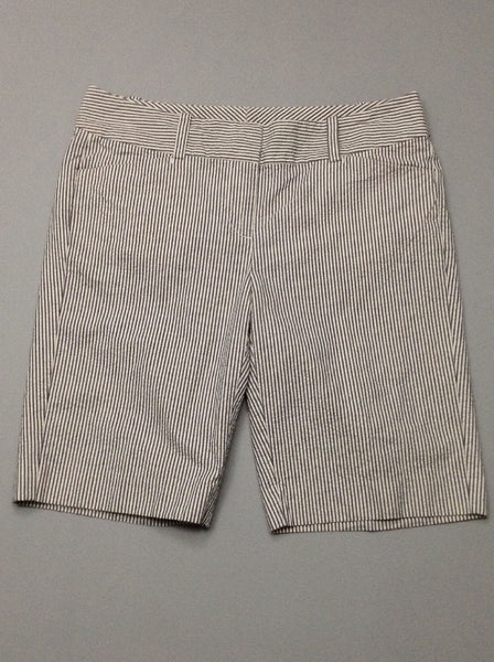 White Striped Casual Shorts, Size: 30.0