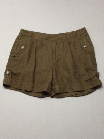 Green Plain Casual Shorts, Size: 10 R
