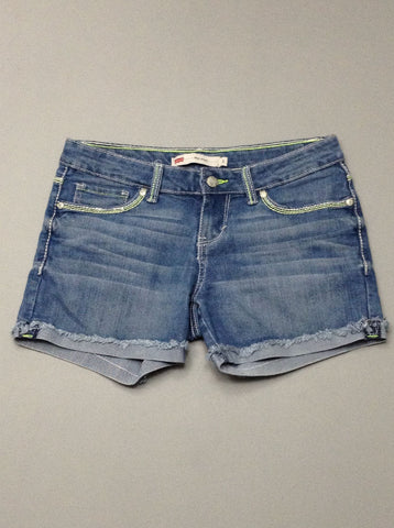Blue Plain Denim Shorts, Size: 9 R