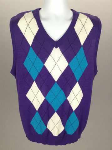 Purple Bright-Vibrant V-Neck Vest Sweater, Size: 2X-Large