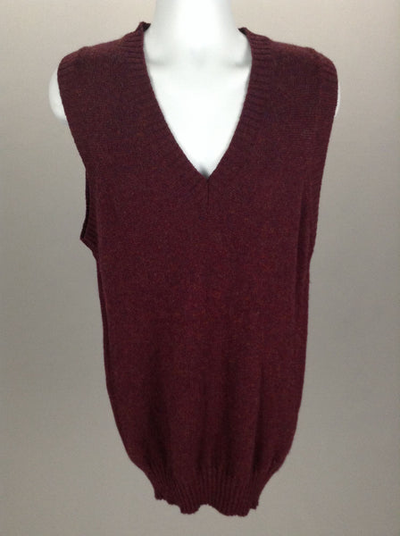 Red Plain V-Neck Vest Sweater, Size: Large