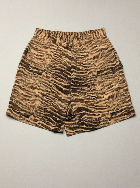 Brown Pattern Casual Shorts, Size: 26.0