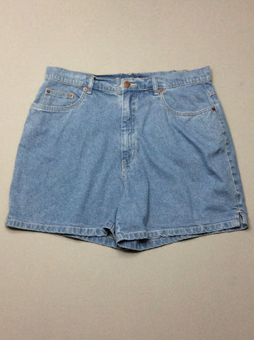 Blue Plain Denim Shorts, Size: 16 R