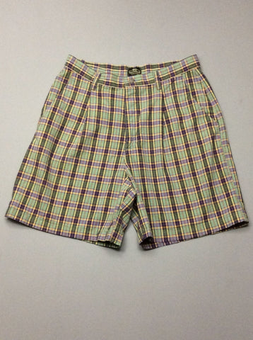 Multicolor Plaid Casual Shorts, Size: 12 R
