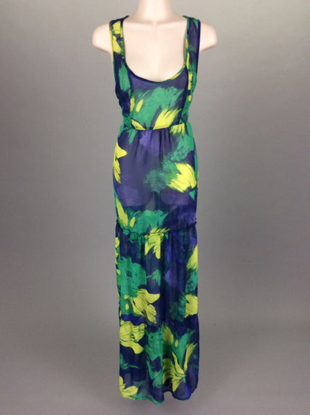 Multicolor Bright-Vibrant Sheer Maxi Dress, Size: Medium