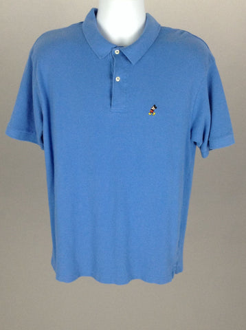 Blue Mickey mouse embroidery Casual Polo Shirt, Size: Large