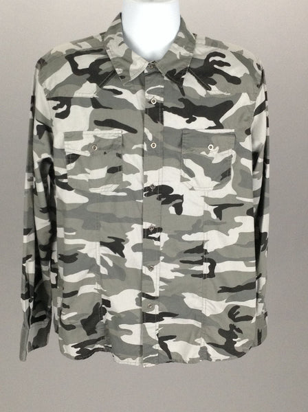 Multicolor Camo Casual Long sleeve Button Up Shirt, Size: Large