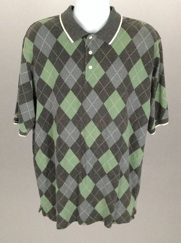 Multicolor Plaid Casual Polo Shirt, Size: X-Large