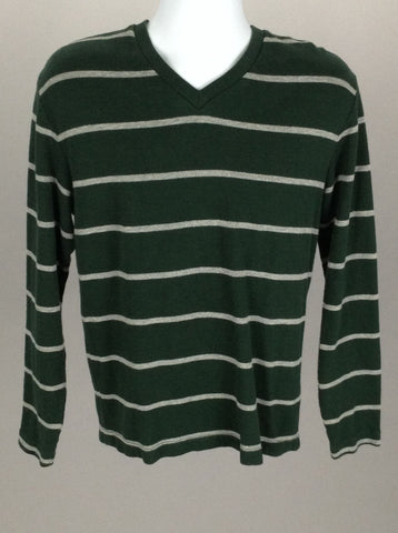 Green Striped V-Neck Regular Sweater, Size: Medium
