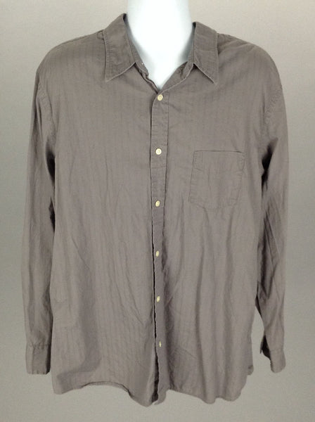 Gray Pattern Casual Long sleeve Button Up Shirt, Size: X-Large