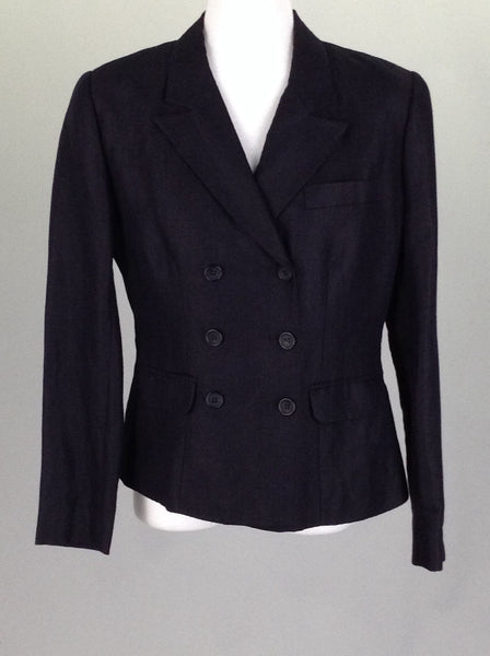 Blue Plain Double-Breasted Blazer, Size: 2 R