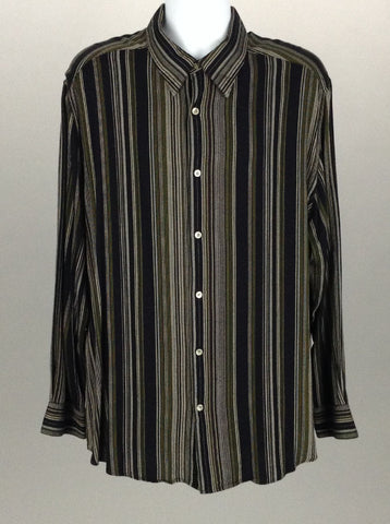 Multicolor Striped Dress Shirt, Size: 2X-Large