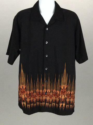 Black Printed Design Casual Button Up Shirt, Size: Large