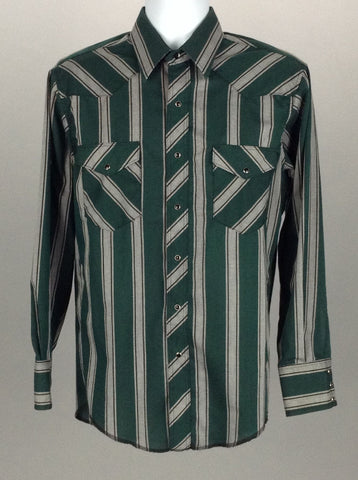 Multicolor Striped Casual Long sleeve Button Up Shirt, Size: 32/33 R