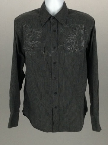 Multicolor Striped Casual Long sleeve Button Up Shirt, Size: Medium