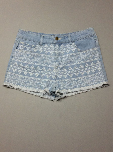 Blue Pattern Denim Shorts, Size: 31.0