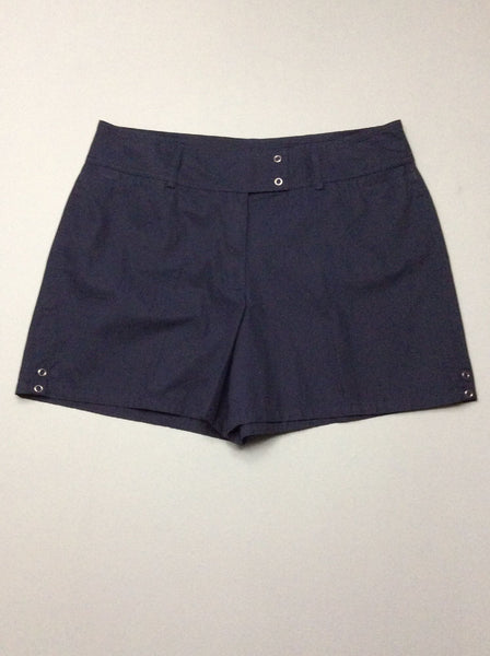 Blue Plain Casual Shorts, Size: 16 R