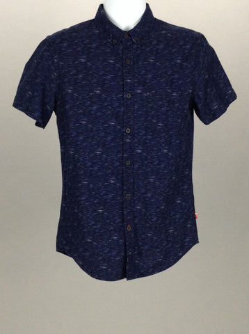 Blue Funky Casual Button Up Shirt, Size: Small