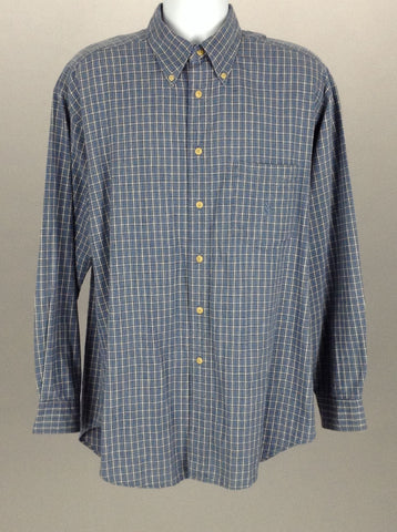 Blue Pattern Casual Long sleeve Button Up Shirt, Size: Large