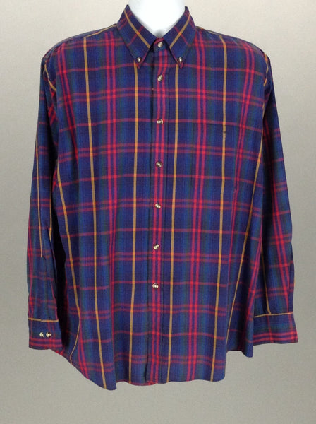 Multicolor Plaid Casual Long sleeve Button Up Shirt, Size: Large