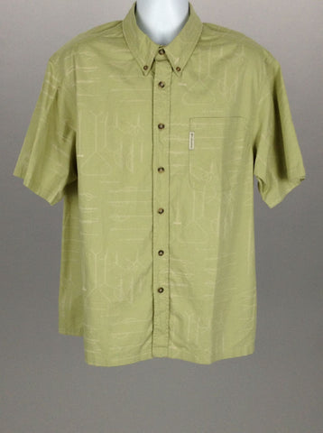 Green Bright-Vibrant Casual Button Up Shirt, Size: X-Large