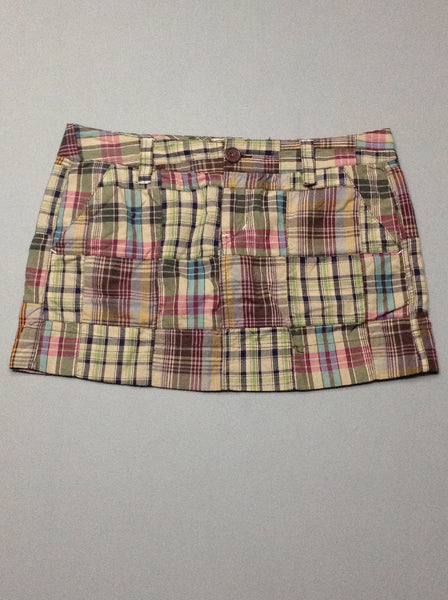 Multicolor Plaid Mini Skirt, Size: 5 R