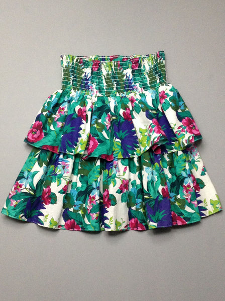 Multicolor Floral Pattern Tiered Skirt, Size: 14 P