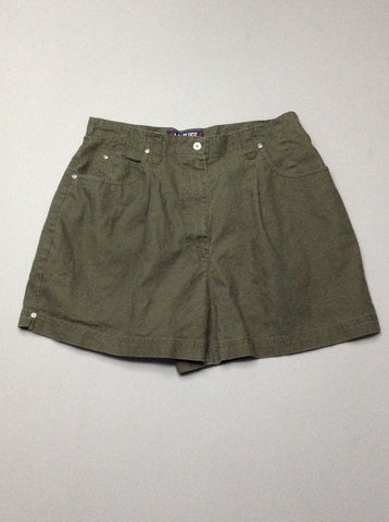 Green Plain Casual Shorts, Size: 14 R