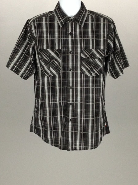 Black Pattern Casual Button Up Shirt, Size: Large