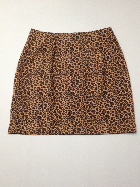 Brown Pattern Mini Skirt, Size: 10 R