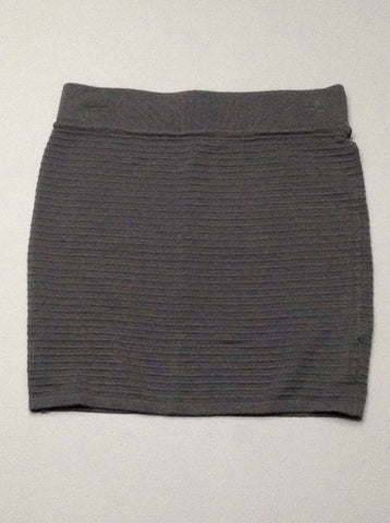 Gray Plain Stretch Knit Skirt, Size: Medium