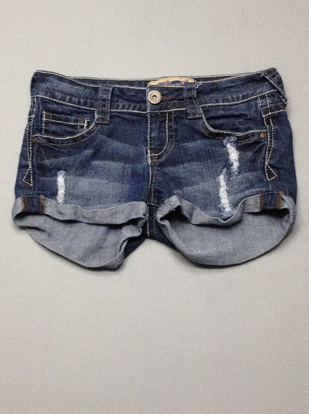 Blue Plain Denim Shorts, Size: 3 R