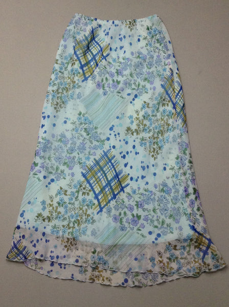 Blue Pattern A-Line Skirt, Size: Large