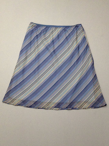 Blue Striped A-Line Skirt, Size: Small