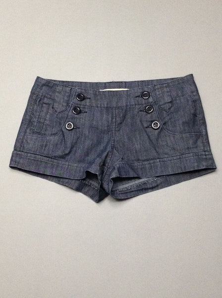 Blue Plain Casual Shorts, Size: Small