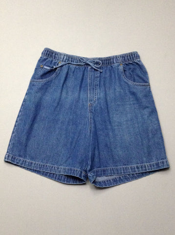 Blue Plain Denim Shorts, Size: 12 R