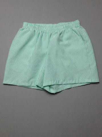 Green Striped Casual Shorts, Size: 10 R