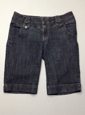 Blue Plain Denim Shorts, Size: 11 R