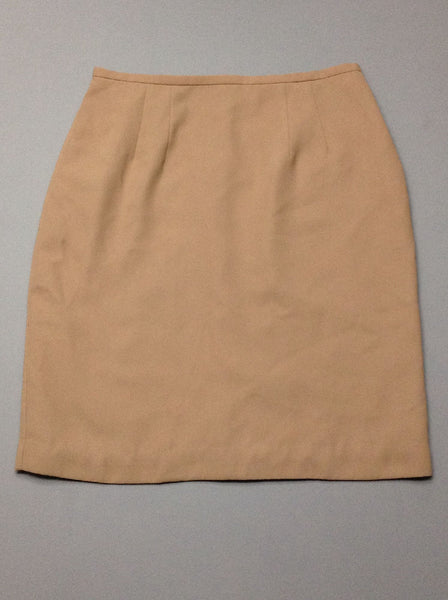 Beige Plain Straight Skirt, Size: 10 R
