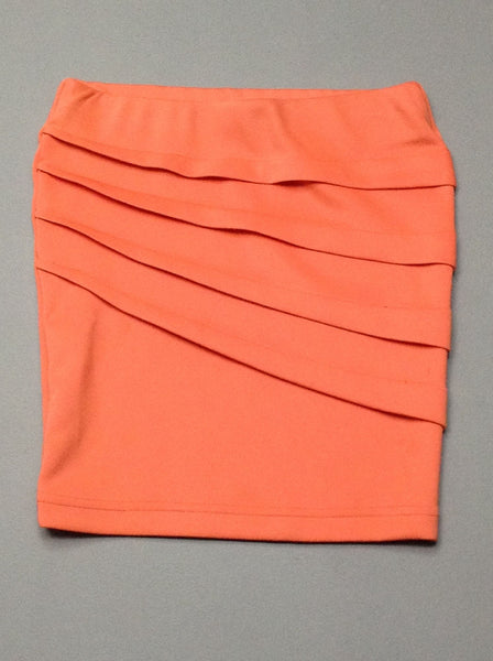 Orange Plain Stretch Knit Skirt, Size: X-Small