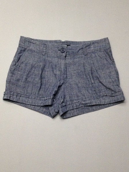 Blue Plain Casual Shorts, Size: Medium